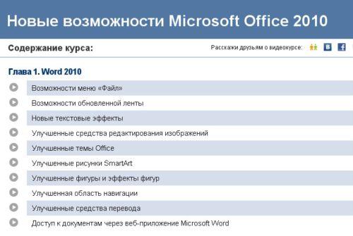 Видеокурс Новые возможности Microsoft Office 2010