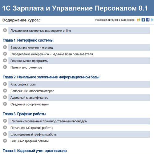 Видеокурс 1С Зарплата и Управление  персоналом 8.1